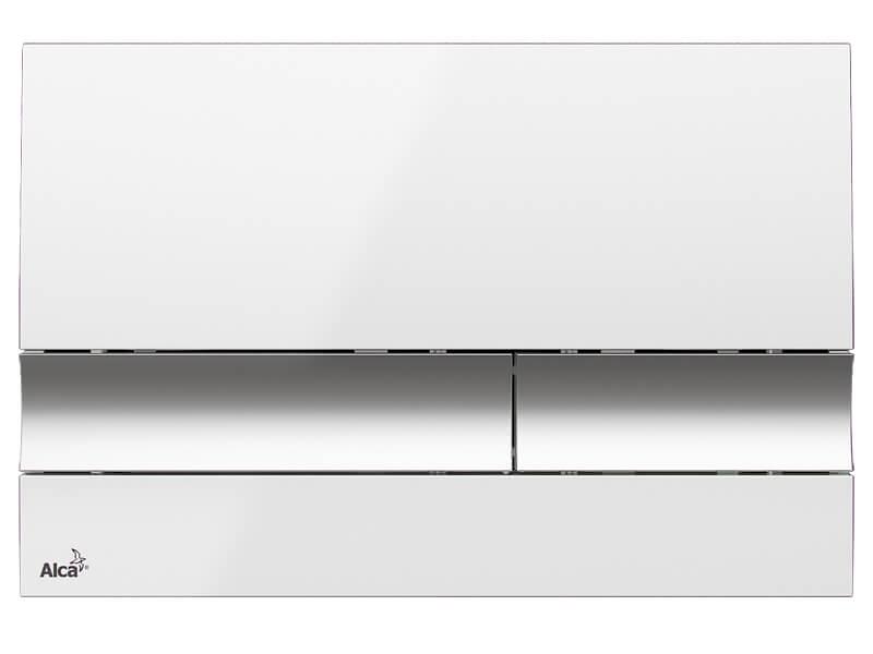 Deska ovládací ALCAPLAST Dual flush, plast, barva: bílá / chrom
