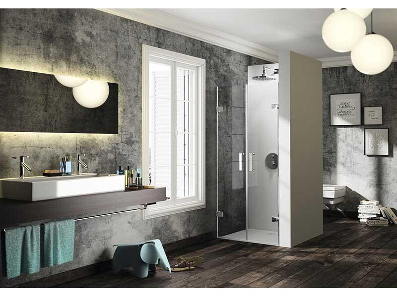 Dveře sprchové SOLVA Lítací dveře, čiré sklo s úpravou Antiplaque, barva rámu: stříbrná vysoký lesk