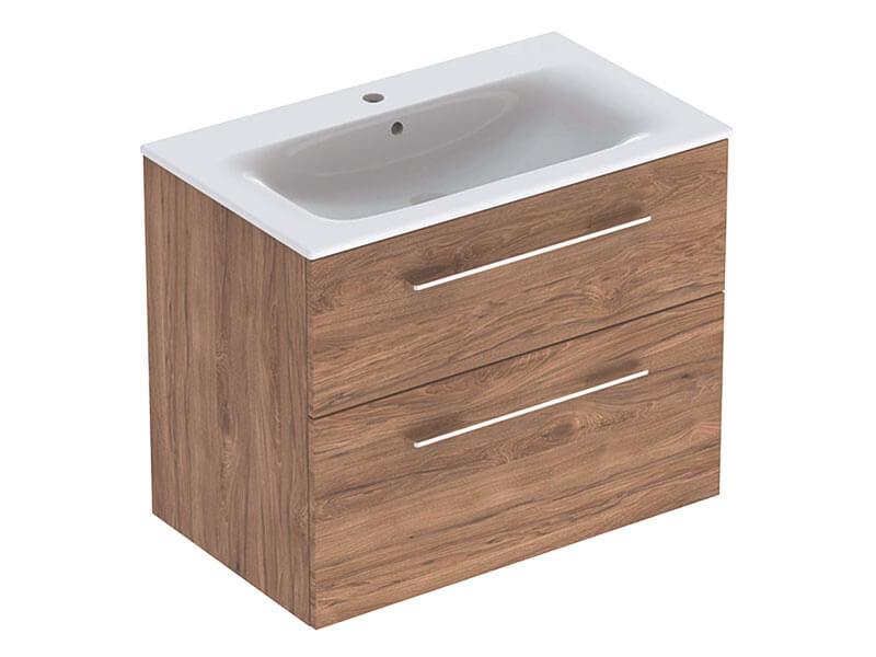 Skříňka s umyvadlem SELNOVA Závěsná skříňka, 2x zásuvka, barva: ořech/melamin struktura dřeva