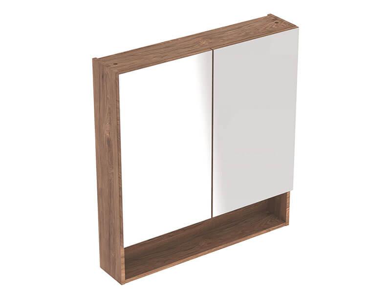 Skříňka zrcadlová SELNOVA 2x dvířka, barva: ořech/melamin struktura dřeva