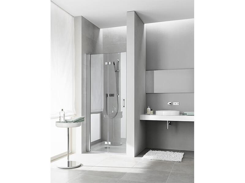 Dveře sprchové DIGA Barva rámu stříbrná, vysoký lesk. Dveře zalamovací, pravé, sklo čiré +  KermiClean