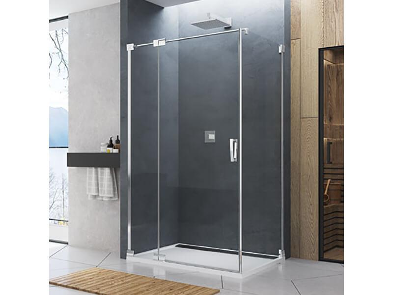 Dveře sprchové CADURA Dveře s pevným segmentem, otevírací, levé, čiré sklo s úpravou Aquaperle, barva rámu: aluchrom