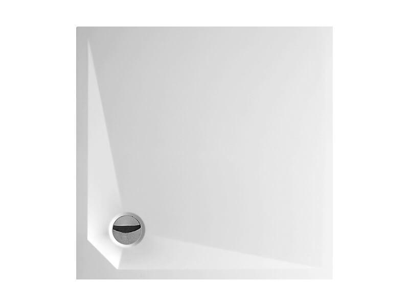 Sprchová vanička DAVOS Bílá čtvercová vanička, materiál litý mramor