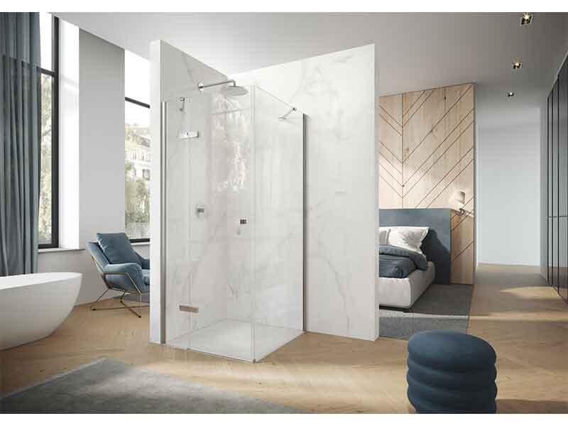Sprchové dveře AURA PURE Otevírací dveře, levé, čiré sklo ANTI-PLAQUE, barva rámu stříbrná pololesklá
