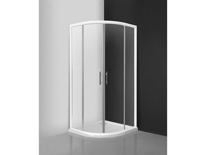 Sprchová zástěna DAVOS 1/4 kruh, posuvné dveře,  rádius R550, čiré sklo s úpravou, barva rámu: bílá