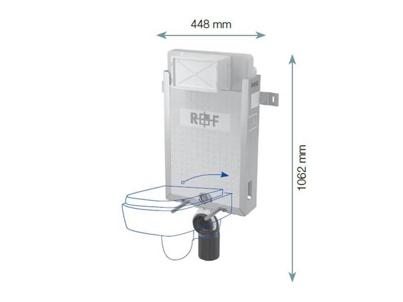 Instalační modul pro WC PLANO Pro závěsné WC, pro zazdění na pevnou zeď