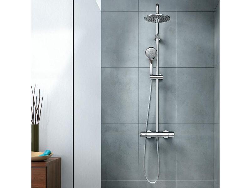 Termostatický sprchový systém OPTILINE Nástěnný systém, hlavová sprcha 20 cm, rozteč 15 cm, průměr ruční sprchy 10 cm, 3 funkce, hadice 175 cm, barva chrom