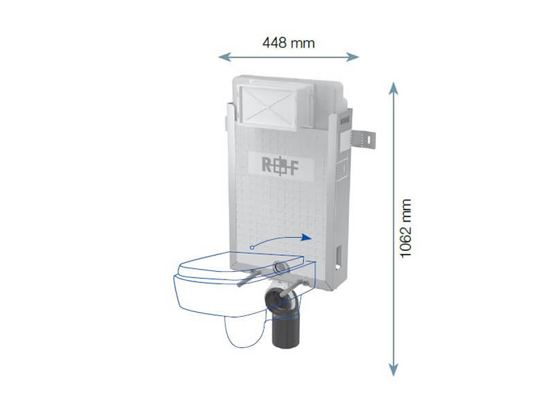 Modul instalační pro závěsné WC PLANO Pro zazdení na pevnou zeď