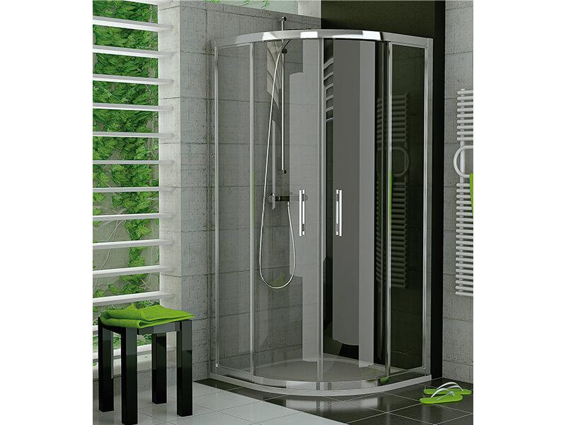 Zástěna sprchová TOP LINE 1/4 kruh, posuvné dveře, rádius R550, čiré sklo, barva stříbrná s vysokým leskem