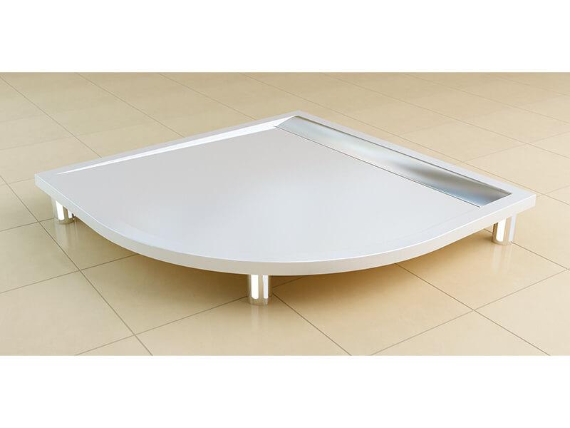 Vanička sprchová ILA 1/4 kruh, materiál litý mramor rádius R550, barva bílá / nerez, včetně sifonu
