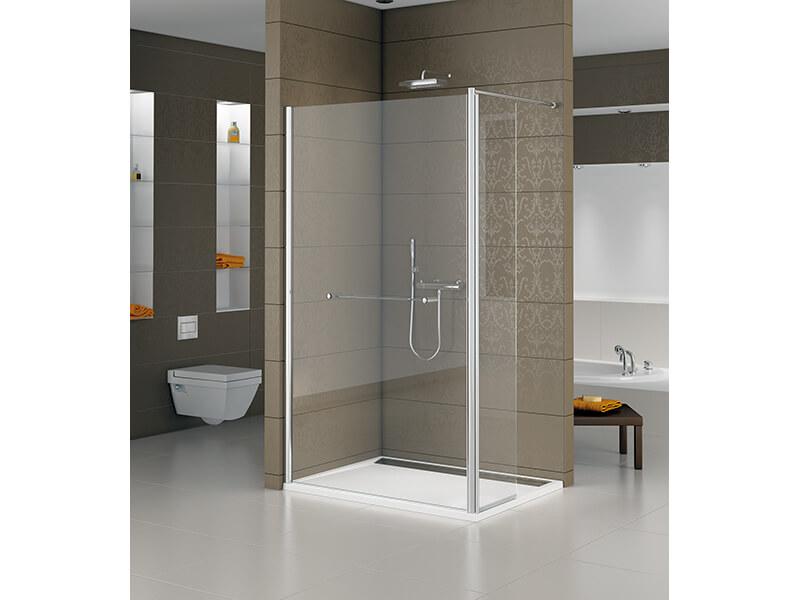 Sprchový kout WALK IN SANSWISS Pevné dveře s otočnou stěnou, čiré sklo s úpravou, barva rámu aluchrom