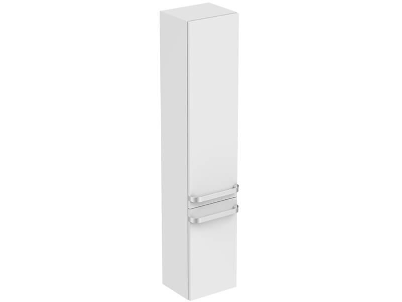 Skříňka boční vysoká TONIC II Závěsná skříňka bez madla, 2x dvířka, levá, barva bílý lesk