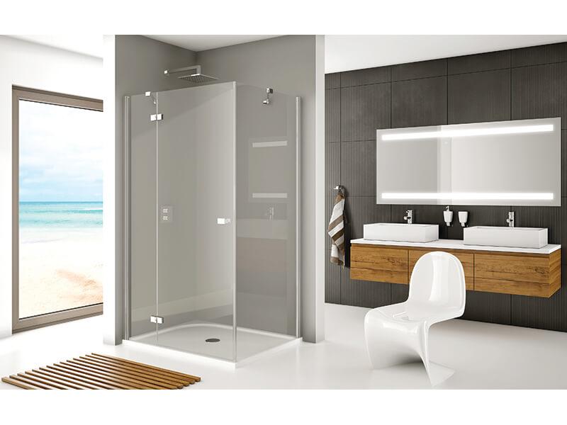 Dveře sprchové GENEVE NEW Otvírací dveře, čiré sklo s povrchovou úpravou, barva rámu ALUCHROM