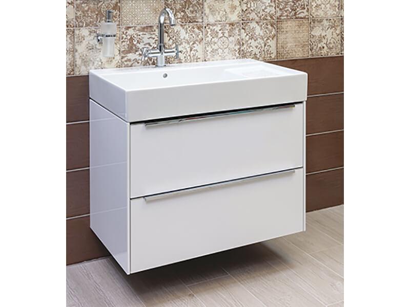 Skříňka s umyvadlem INSPIRA Barva: bílá, závěsná, 2x zásuvka, vzorník barev nábytku