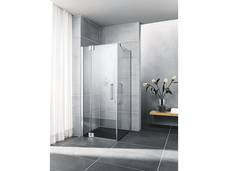 Dveře sprchové PASA Dveře sprchové s pevným segmentem, levé, otvírací, sklo čiré, barva rámu stříbrný vysoký lesk