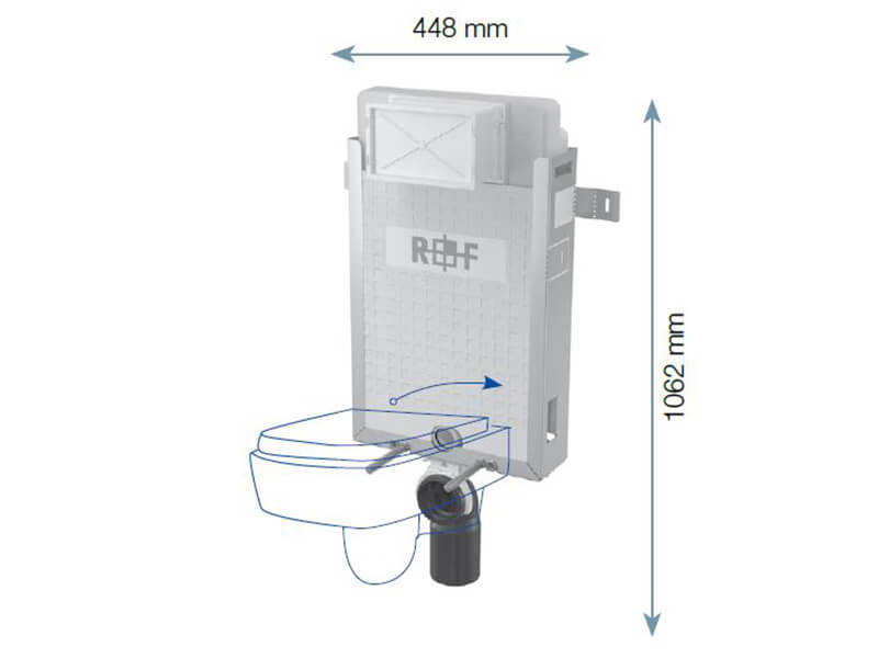Modul instalační pro závěsné WC PLANO Modul pro zazdění na pevnou zeď