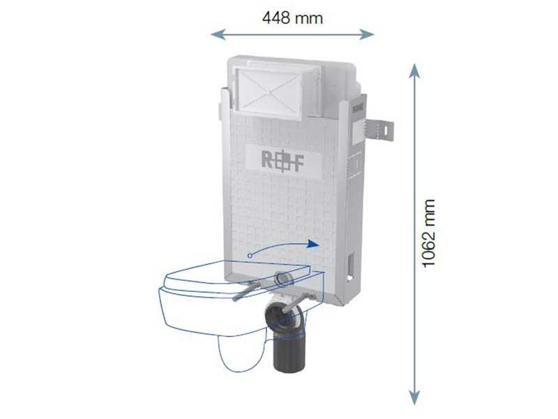 Instalační modul pro WC PLANO Modul pro závěsné WC pro zazdění na pevnou zeď