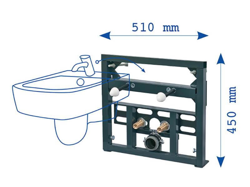 Instalační modul PLANO pro bidet Pro závěsný bidet, pro zazdění na pevnou zeď nebo do sádrokartonu