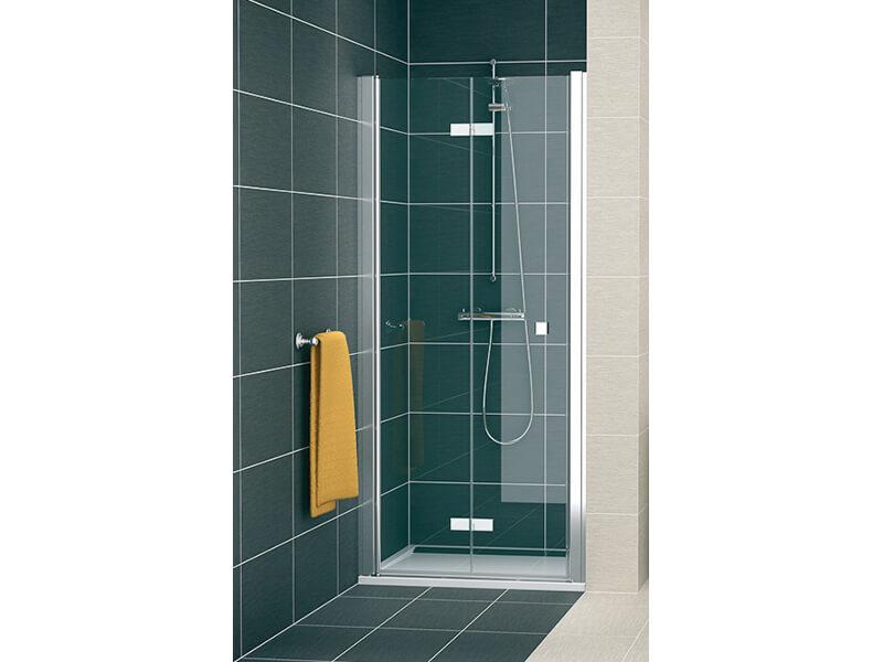 Sprchové dveře SWING LINE F Zalamovací dveře, čiré sklo s úpravou Aquaperle, barva rámu: stříbrná s vysokým leskem