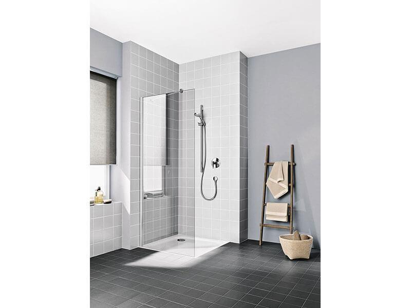 Sprchová stěna boční Walk-in Plano Čiré sklo s úpravou Kermi Clean, barva rámu: stříbrný lesk