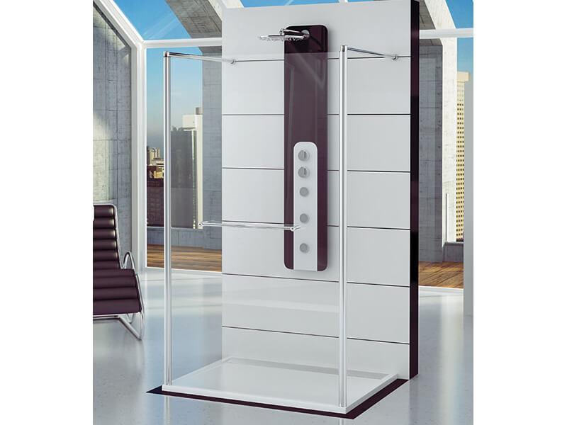 Zástěna sprchová SANSWISS WALK IN stěna pevná, sklo čiré + úprava, stříbrný vysoký lesk