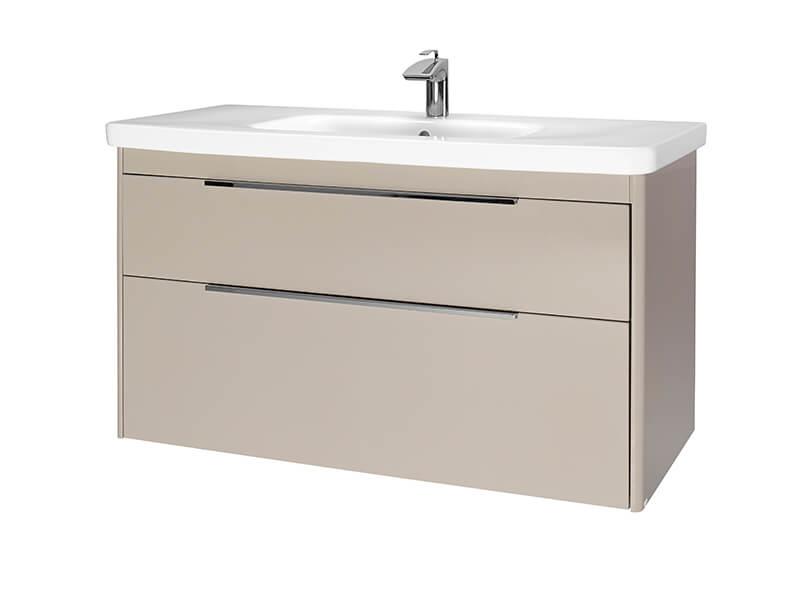 Skříňka s umyvadlem ENZO Závěsná skříňka, 2x zásuvka, barva béžová matná + umyvadlo bílé