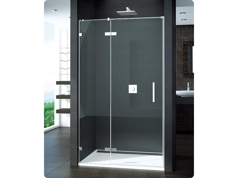 Dveře sprchové PUR Dveře s pevným segmentem, otvírací, levé, čiré sklo s úpravou Aquaperle, barva rámu: stříbrná vysoký lesk