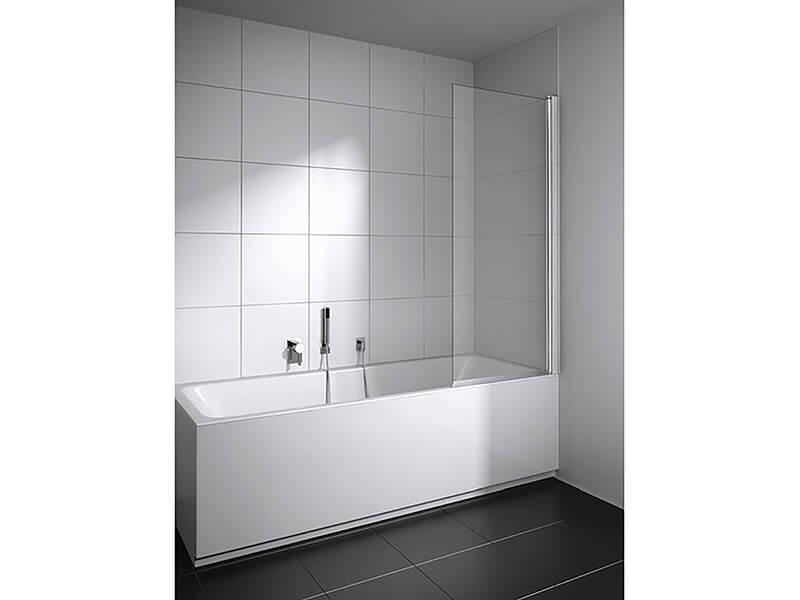 Vanová zástěna PLANO Provedení pravé, čiré sklo s povrchovou úpravou, barva rámu: stříbrná s vysokým leskem