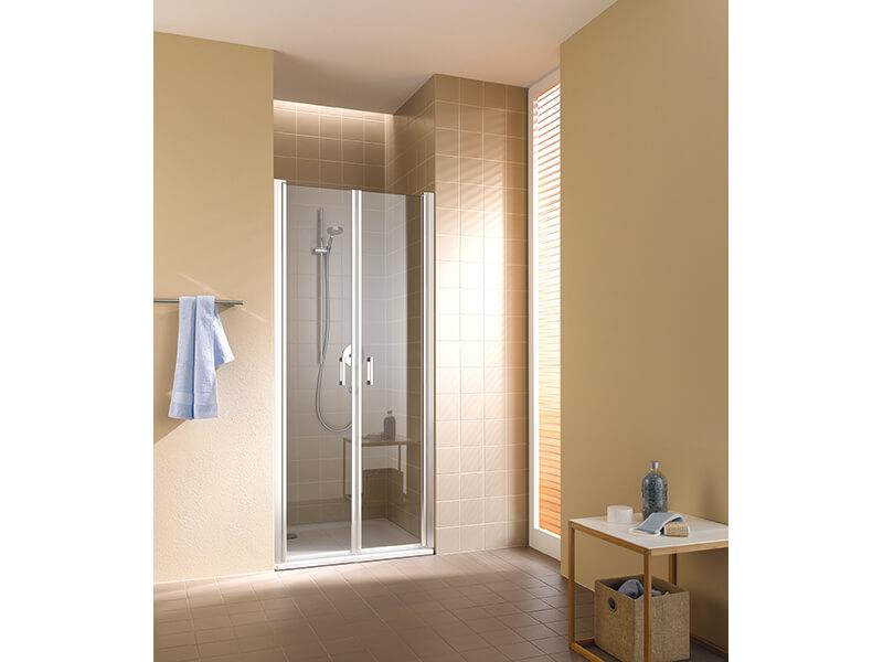 Sprchové dveře DAVOS PLUS Lítací otvírací dveře, čiré sklo s povrchovou úpravou, barva rámu: stříbrný lesk