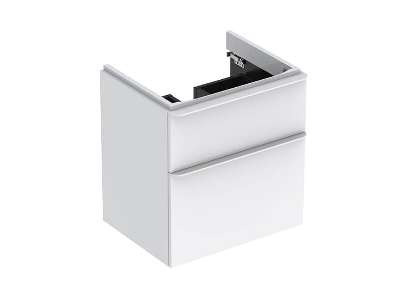 Skříňka pod umyvadlo SMYLE SQUARE Závěsná skříňka, 2x zásuvka, barva bílá lesklá/matná