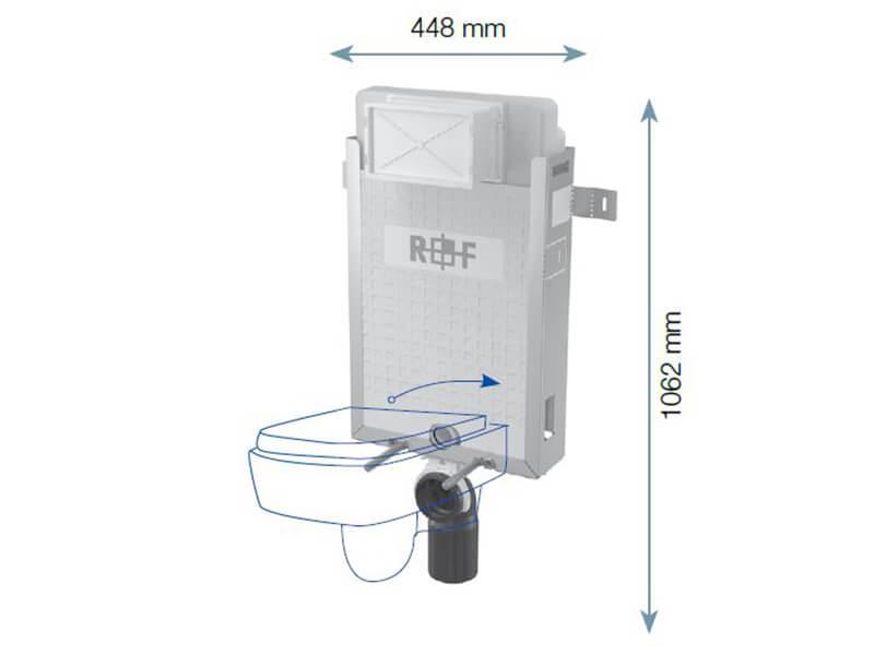 Instalační modul pro WC PLANO Modul pro závěsné WC, pro zazdení na pevnou zeď
