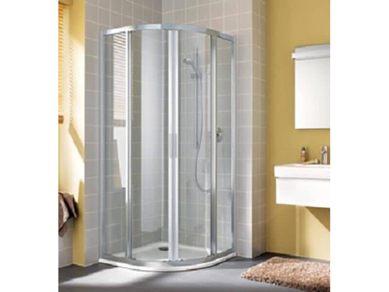 Zástěna sprchová DAVOS PLUS 1/4 kruh, posuvné dveře, rádius R550, čiré sklo s povrchovou úpravou, barva rámu: bílá